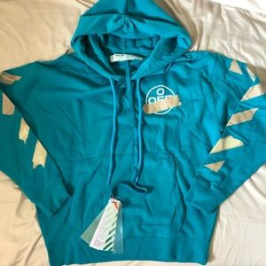 Off White turquoise blue tape hoodie size S small